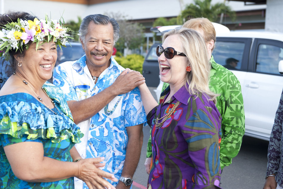 Secretary Clinton With Prime Minister Puna and Mrs. Puna