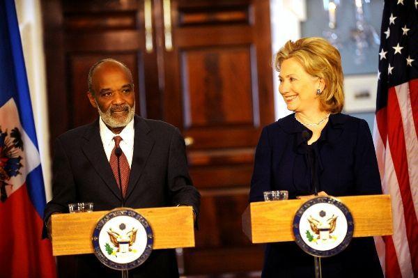 Secretary Clinton With Haitian President Rene Preval