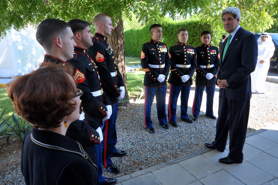 Secretary Kerry Thanks Consul General Casper and Marine Security Guards
