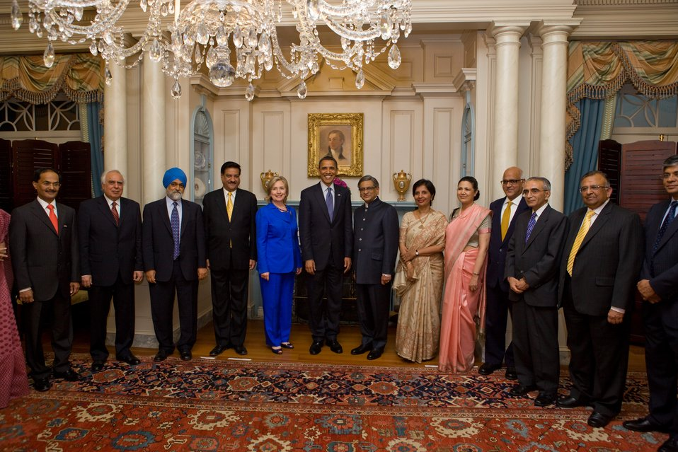 President Obama, Secretary Clinton, and the Indian Delegation Pose for a Photo