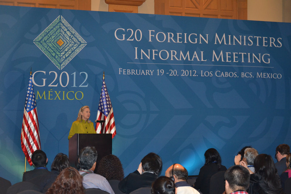 Secretary Clinton Holds Press Availability During G-20 Meeting in Mexico