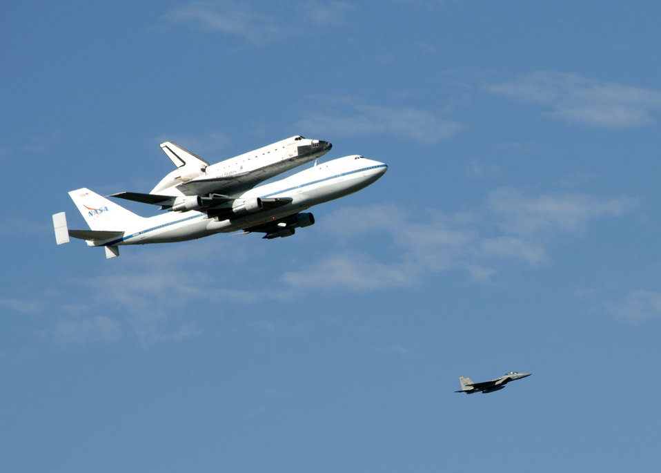 Space shuttle Endeavour flies over Sacramento District headquarters