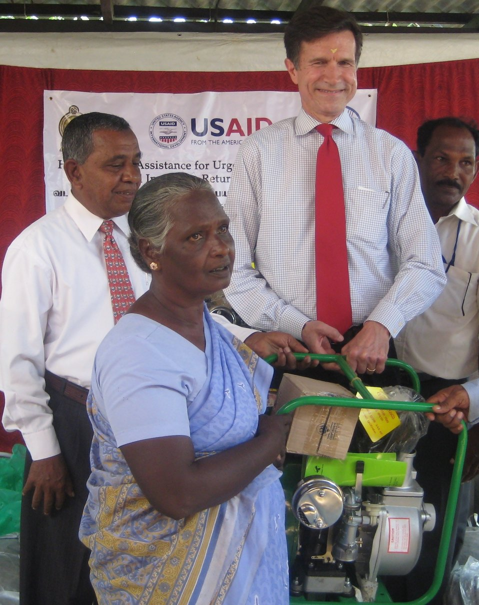 Assistant Secretary Blake Turns Over Water Pumps to Formerly Displaced Farmers in Sri Lanka