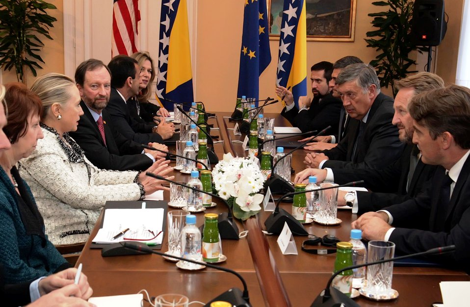 Secretary Clinton and EU High Representative Ashton Meet With Members of the Bosnian Presidency