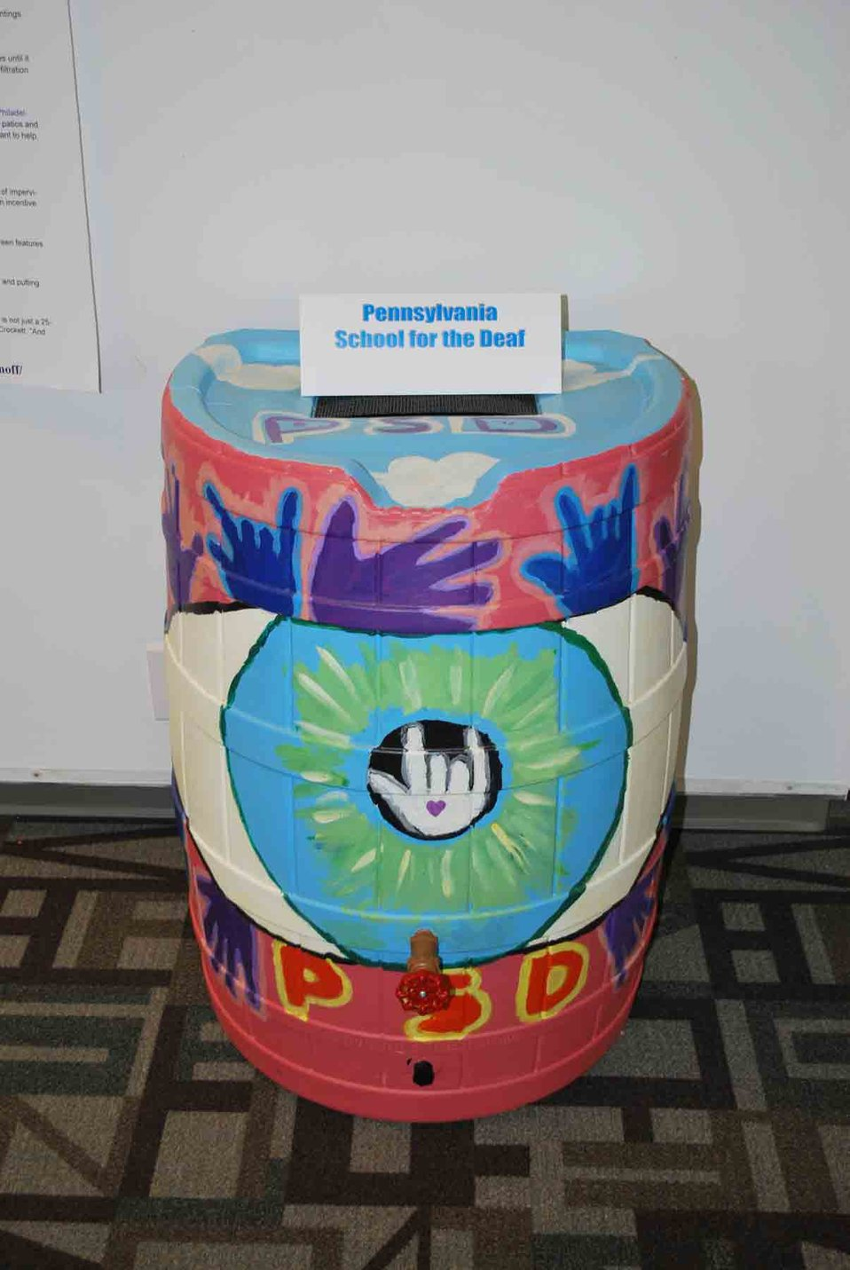 Rain Barrel Art by the Pennsylvania School for the Deaf