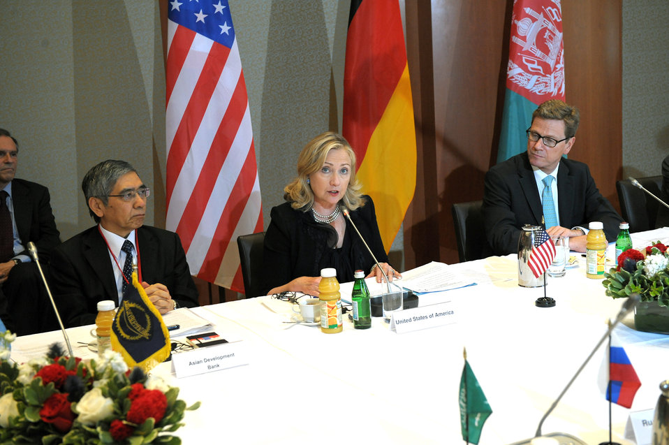 Secretary Clinton and Afghan Foreign Minister Rassoul Co-Chair the New Silk Road Ministerial Meeting