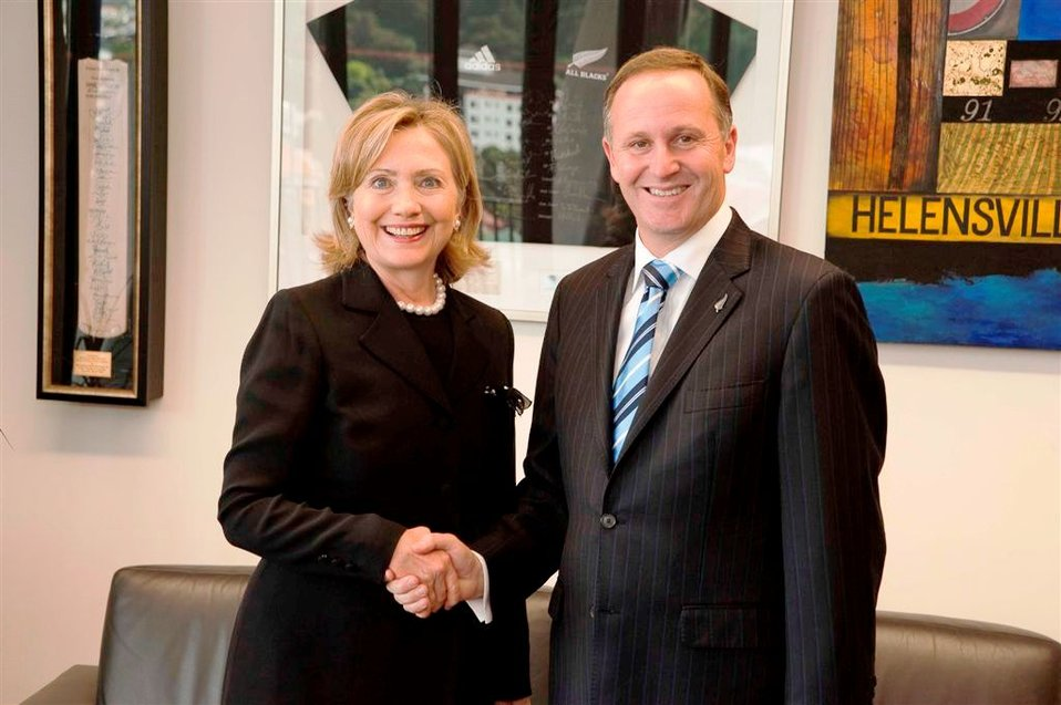 Secretary Clinton Shakes Hands With New Zealand Prime Minister Key