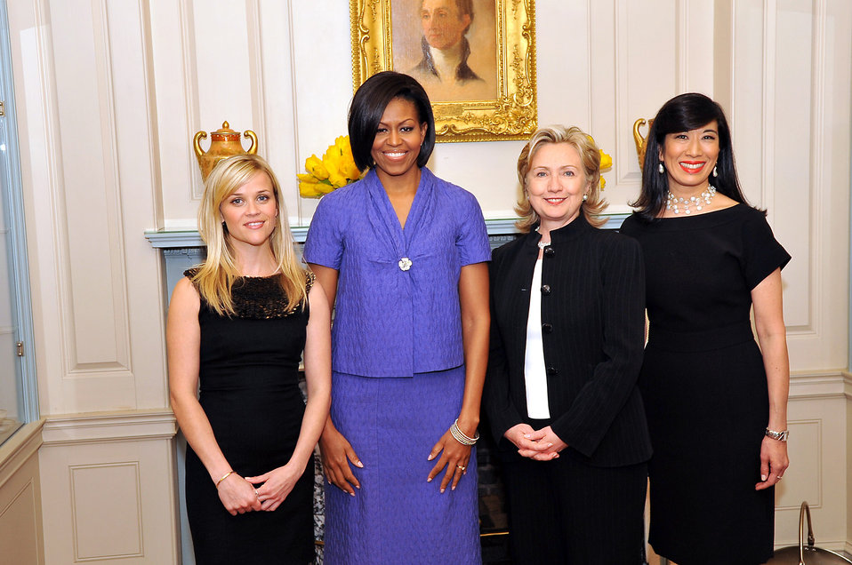 Secretary Clinton With First Lady Michelle Obama, Reese Witherspoon and Andrea Jung