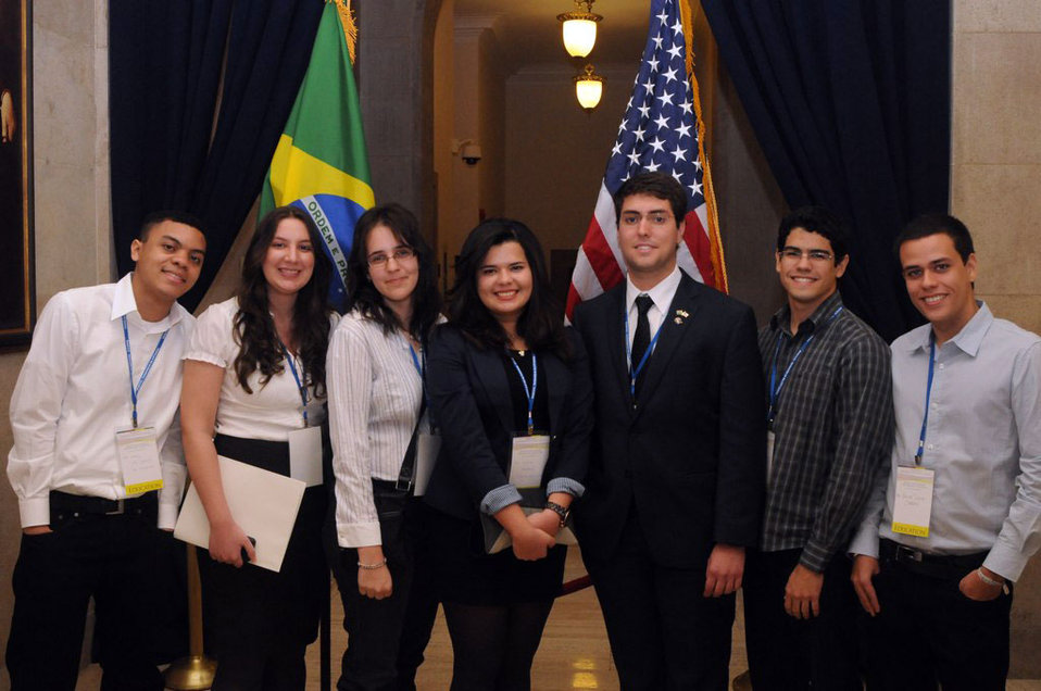Brazilian Students Pose for a Photo