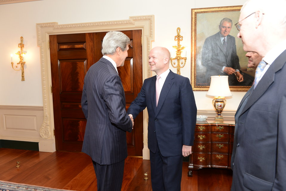 Secretary Kerry and UK Foreign Secretary Hague Shake Hands