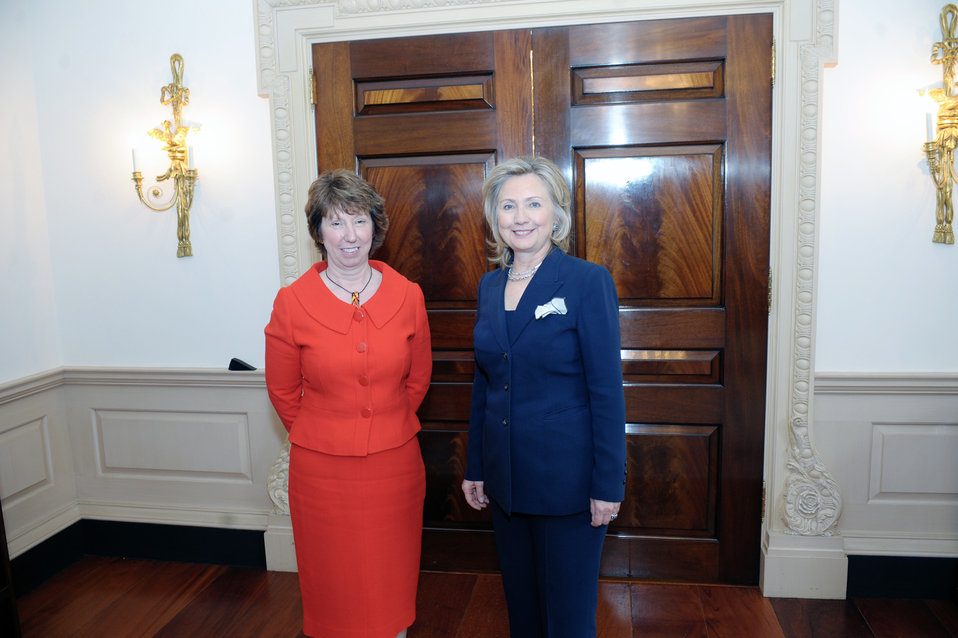 Secretary Clinton Poses for a Photo With EU High Representative Ashton