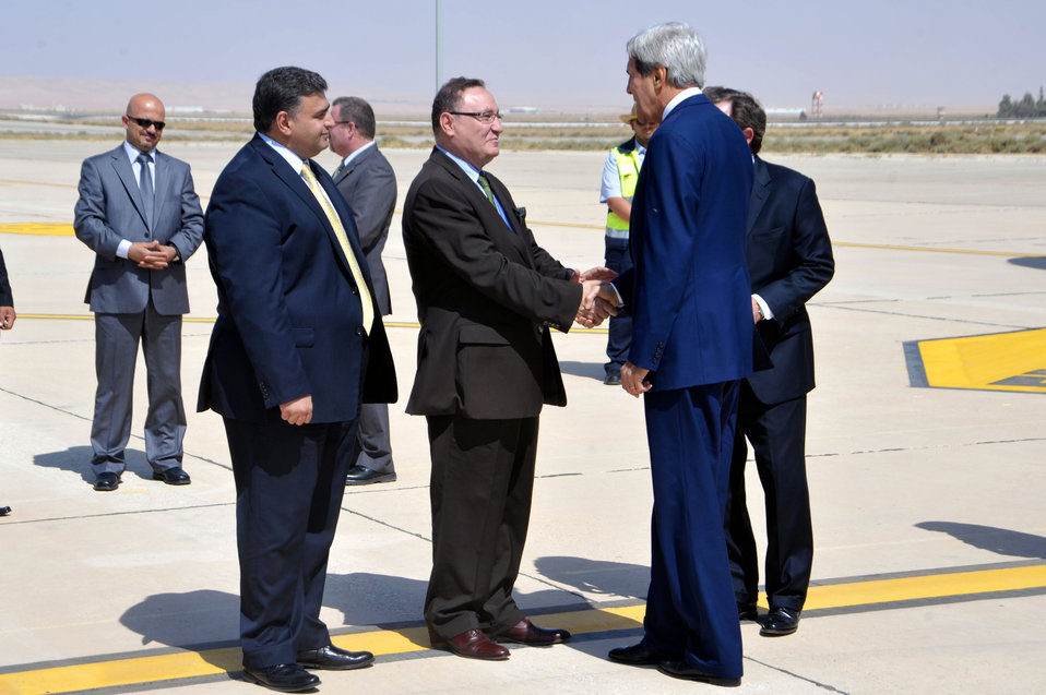 Secretary Kerry Is Greeted By Jordanian Officials