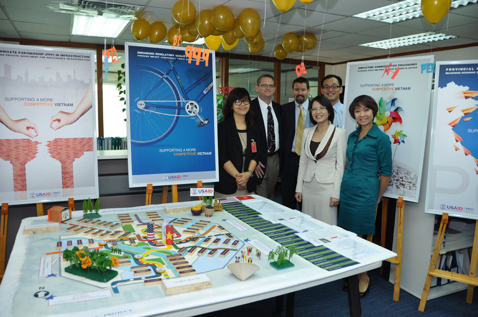 Display area at the USAID/Vietnam Open House on the occasion of USAID's 50th anniversary.
