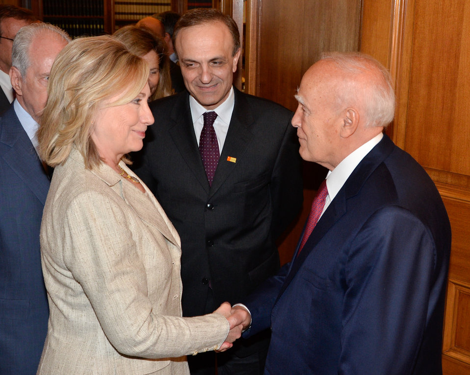 Secretary Clinton Shakes Hands With Greek President Papoulias