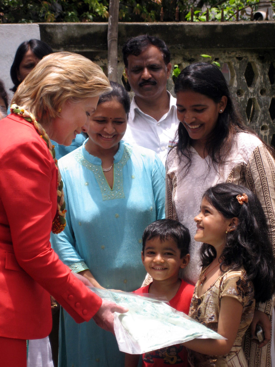 Secretary Clinton Visits SEWA Hansiba Outlet