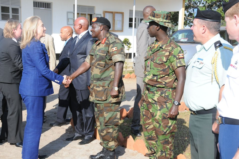 Secretary Clinton Greets Lieutenant General Wamala