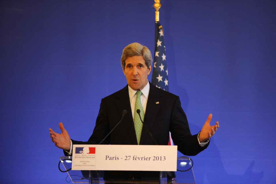Secretary Kerry Addresses Reporters