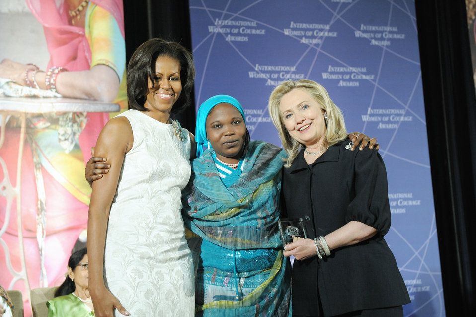 Secretary Clinton and First Lady Obama With 2012 IWOC Award Winner Hawa Abdallah Mohammed Salih of Sudan