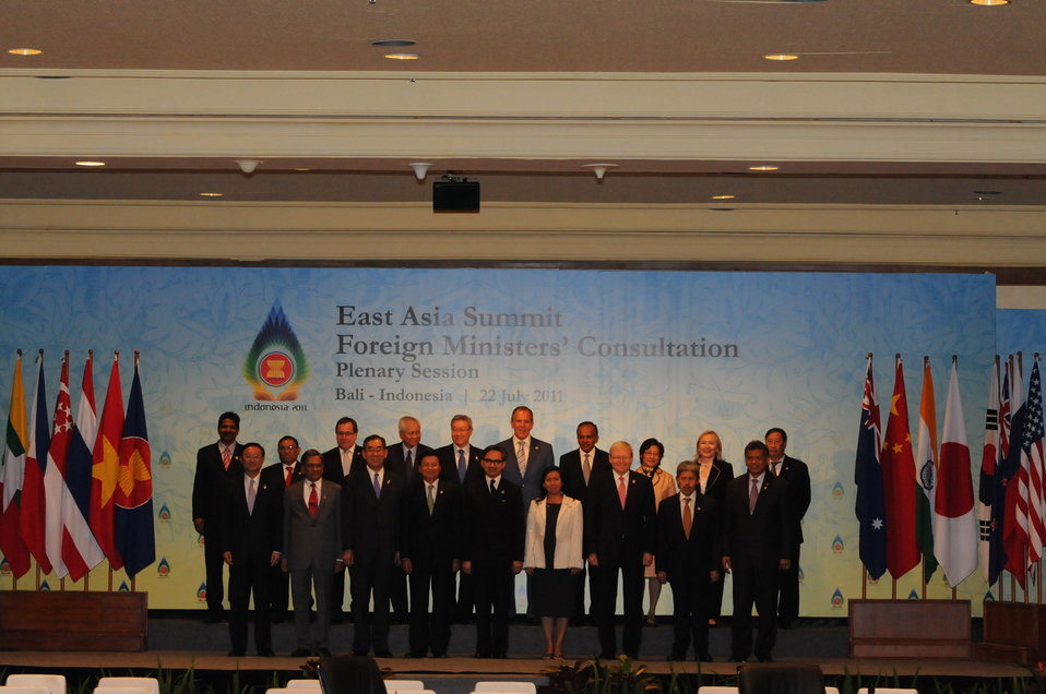 Secretary Clinton Poses for a Family Photo at the East Asia Summit Foreign Ministers' Consultation