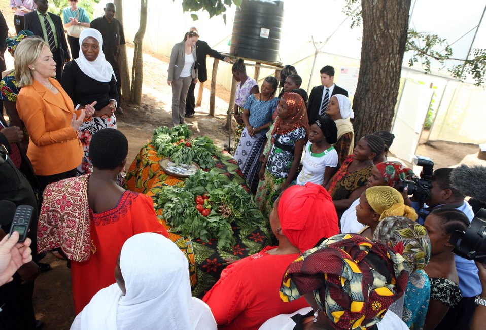 Secretary Clinton Speaks With Tanzanian Women Farmers