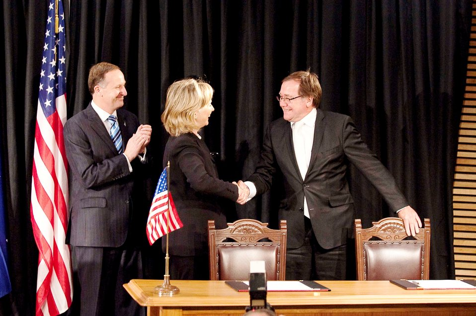 "Secretary Clinton Shakes Hands With New Zealand Foreign Minister McCully After Signing the ""Wellington Declaration"""