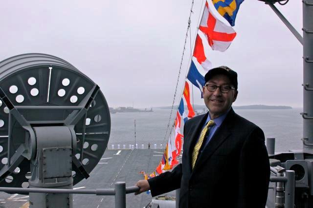 Ambassador Jacobson Poses for a Photo Aboard the USS Wasp