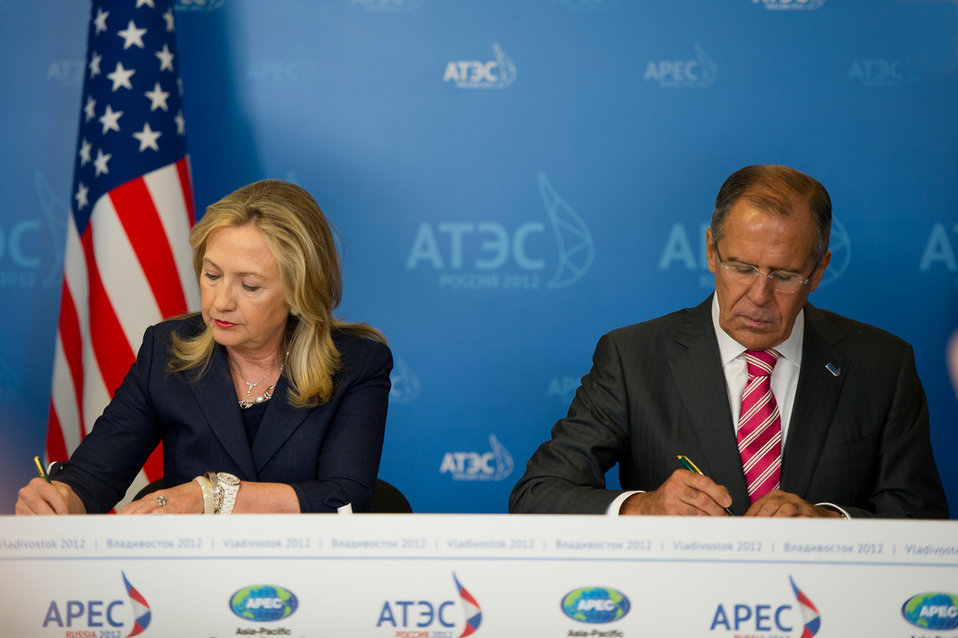 Secretary Clinton and Russian Foreign Minister Lavrov Participate in a Signing Ceremony