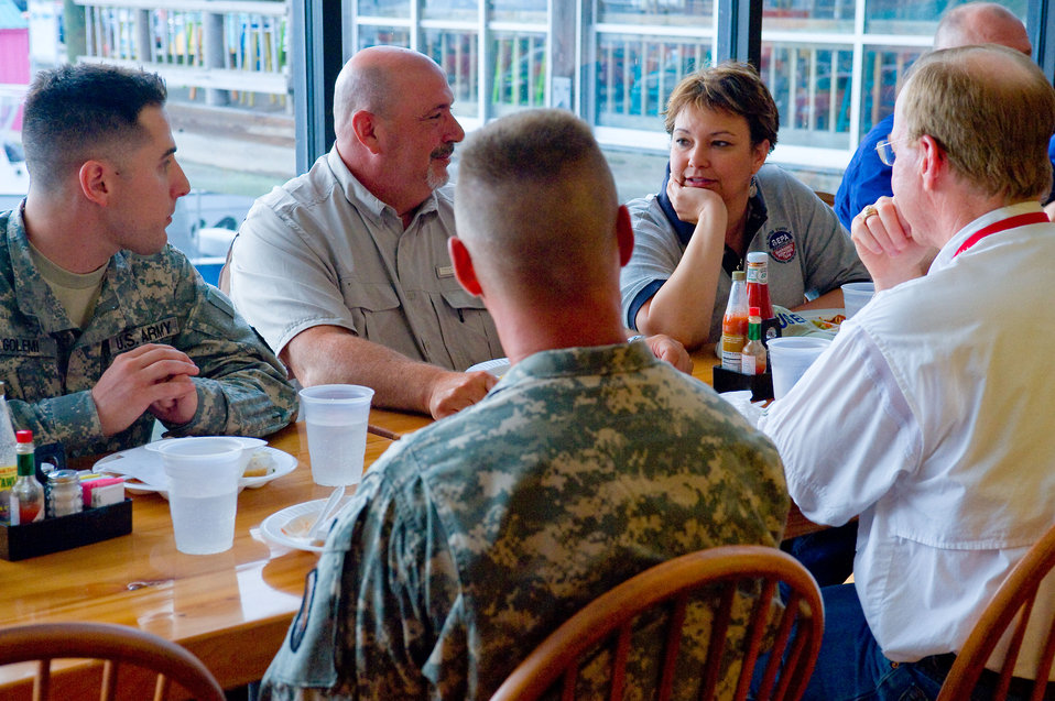 June 2, Discussing the spill response with deployed troops