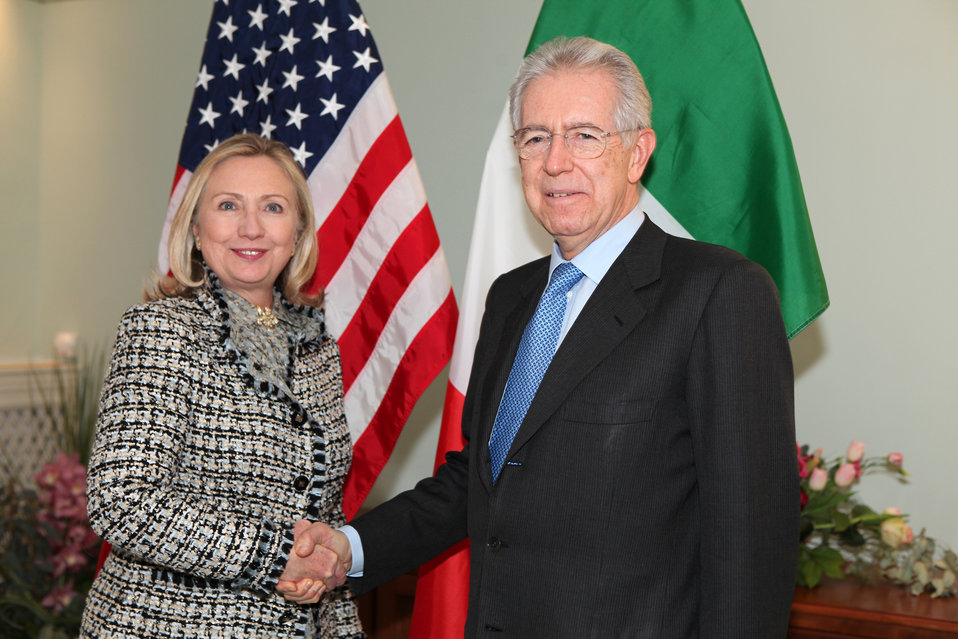 Secretary Clinton Meets With Italian Prime Minister Monti