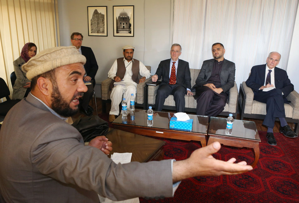 Deputy Ambassador P. Michael McKinley and USAID Mission Director William Hammink met with elders from Khost, Logar, and Paktiya on April 16, 2014 in Kabul. The elders provided community perspectives on rule of law, peace, security, and post-election Afgha