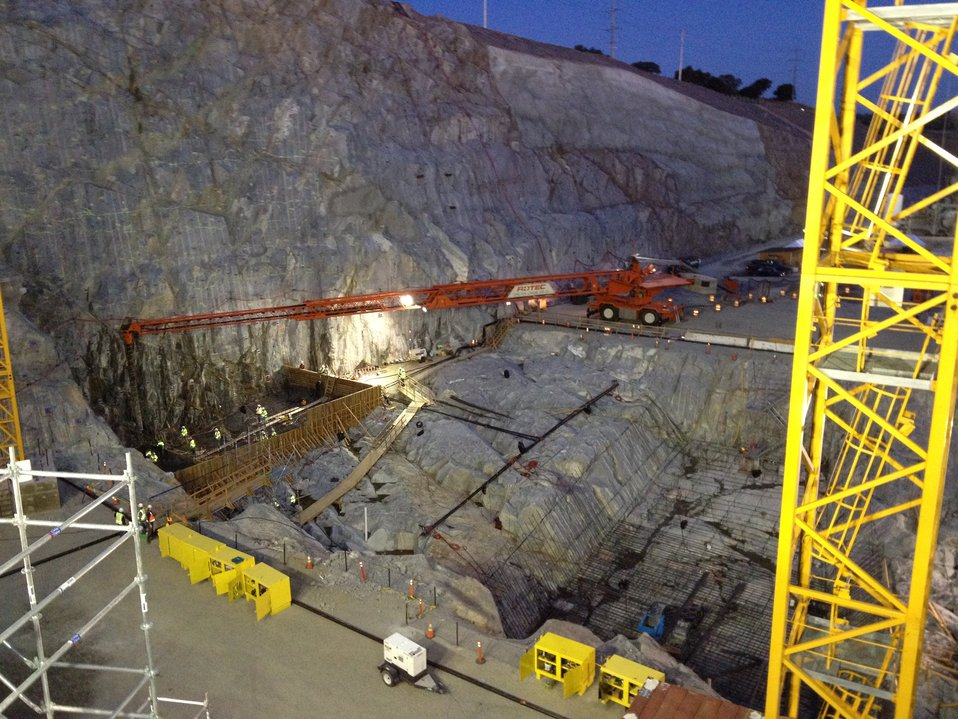 Nighttime concrete placement at Folsom spillway