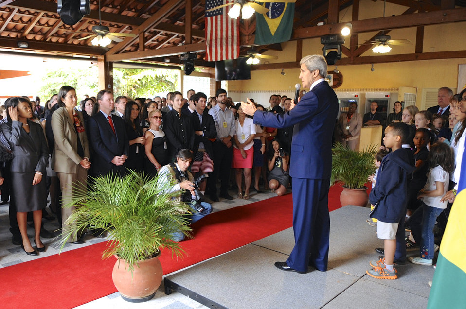 Secretary Kerry Addresses the Staff of Embassy Brasilia