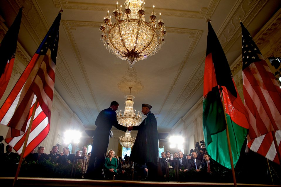 President Obama and Afghan President Karzai Shake Hands