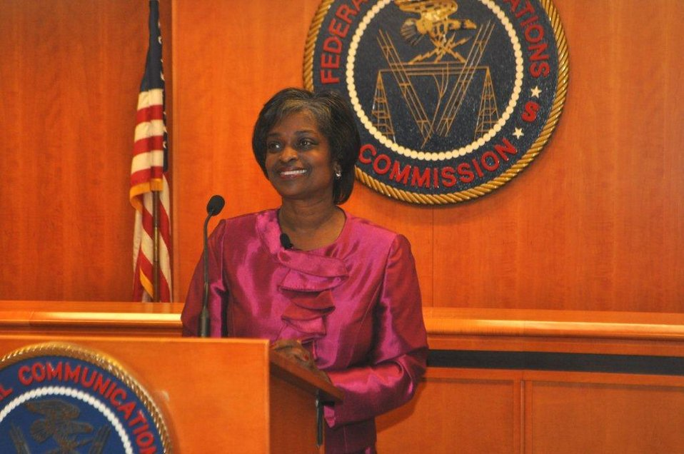 Acting Chairwoman Mignon Clyburn giving statement to FCC staff