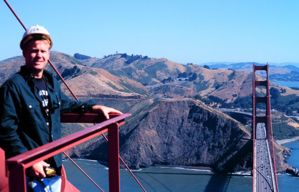 Richard Bourgerie of the NOAA NOS CO-OPS office atop the south tower of the Golden Gate Bridge on a glorious fall day.