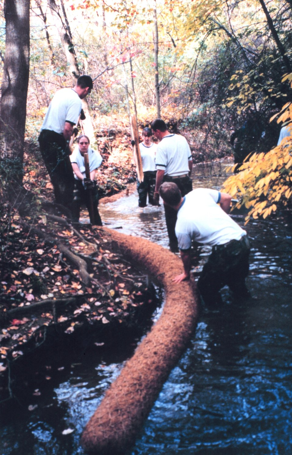 Installing Biologs to abate erosion problems along Spa Creek.