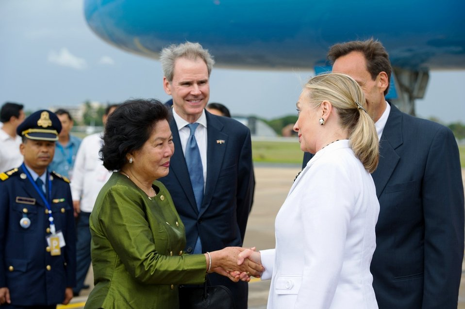 Secretary Clinton Is Greeted by Cambodia's Secretary of State of the Ministry of Foreign Affairs