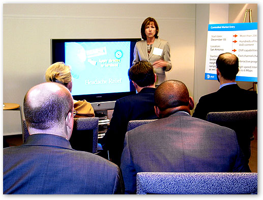 Ms. Lea Ann Champion, Senior Executive Vice President, IP Operations, AT&T, gives demonstration over IP-Video Technology, Irving, Texas.