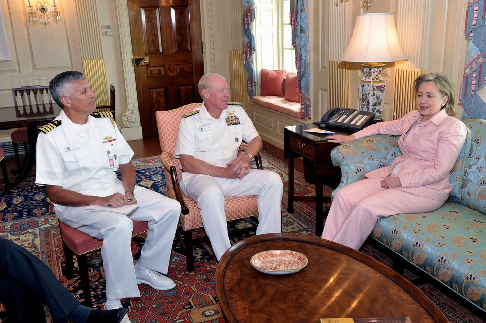 Secretary Clinton Meets With U.S. Admiral Robert F. Willard and Captain Michael Smith