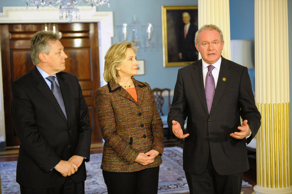 Secretary Clinton Speaks With First Minister Robinson and Deputy First Minister McGuinness of Northern Ireland
