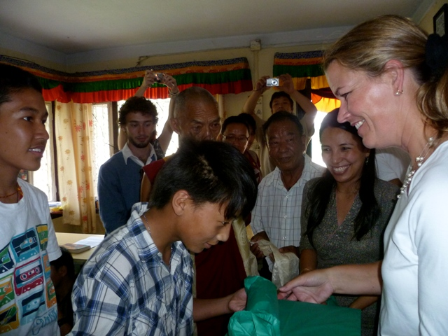 DAS Clements Is Greeted By a Group of Tibetan Refugee Youth