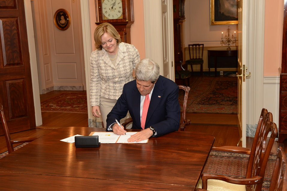 Secretary Kerry Signs the Appointment Papers for Ambassador-Designate Jones