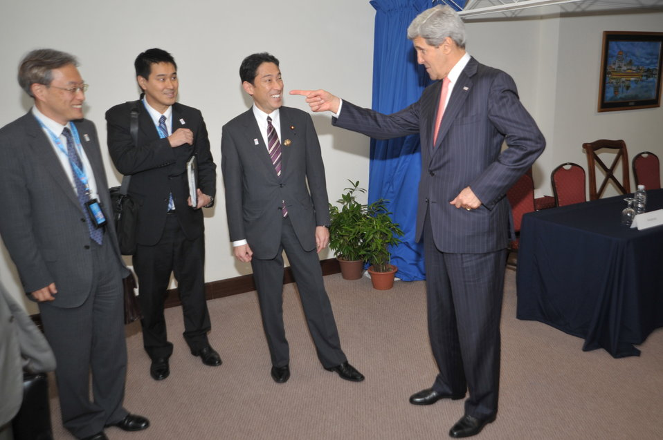 Secretary Kerry Jokes With Japanese Foreign Minister Kishida