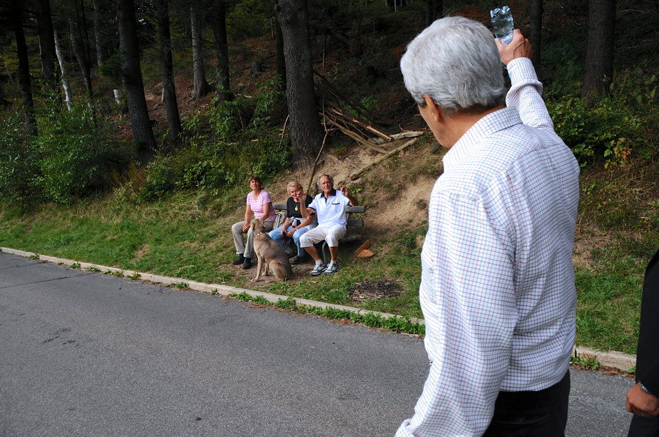 Secretary Kerry Greets Swiss Residents During Mountain Hike