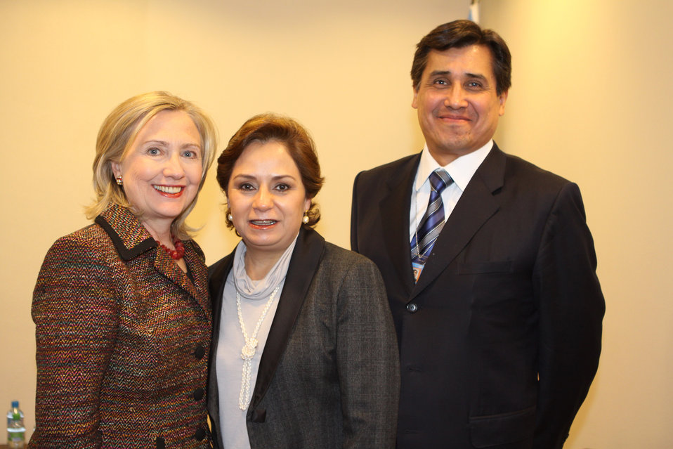 Secretary Clinton Meets With Mexican Foreign Secretary Espinosa and Mexican Permanent Representative Camacho