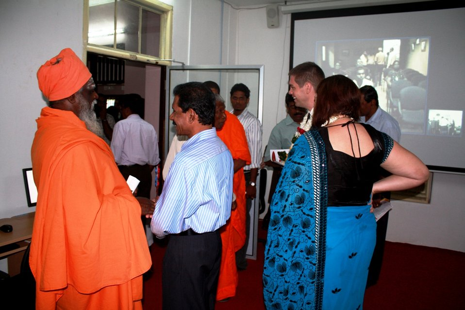 Attendees Chat at the Opening of the American Corner Jaffna