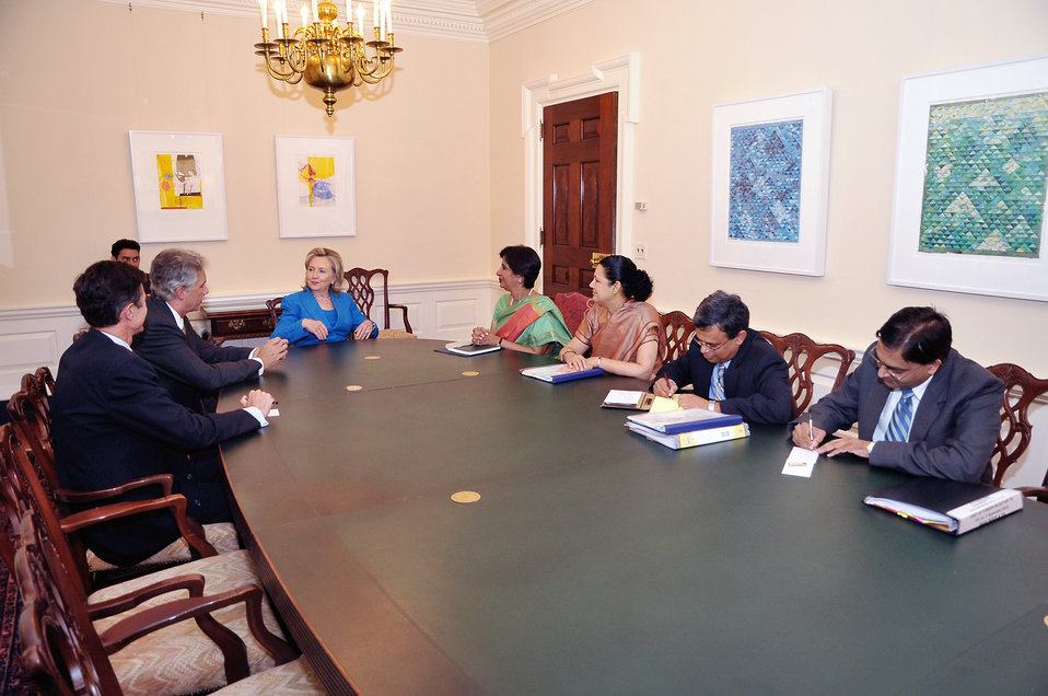 Secretary Clinton, Under Secretary Burns, and Assistant Secretary Blake Meet With Indian Foreign Secretary Rao
