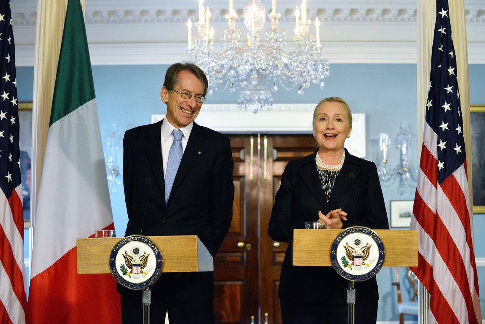 Secretary Clinton and Italian Foreign Minister Italian Foreign Minister Giulio Terzi di Sant'Agata Address Reporters