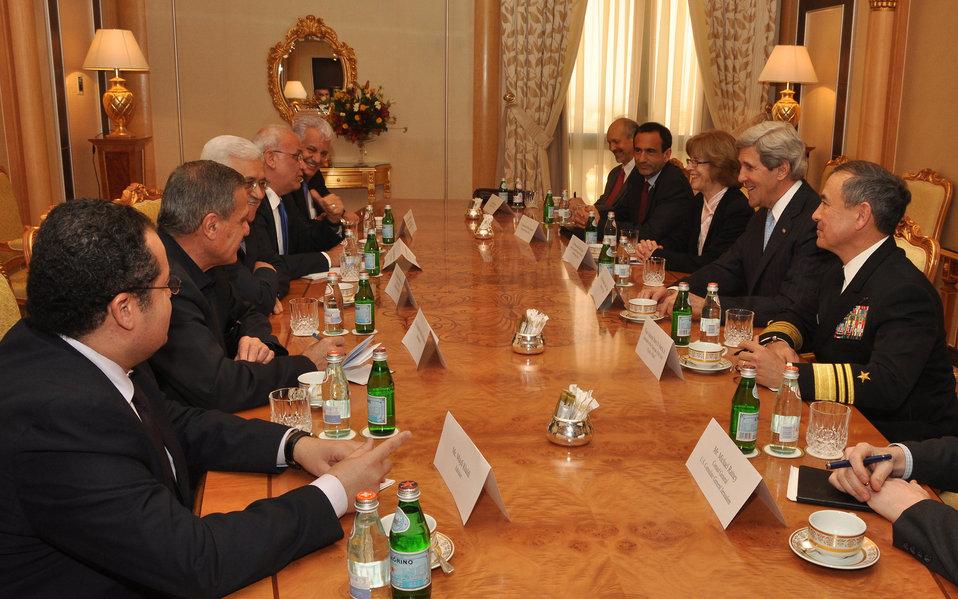 Secretary Kerry Meets With Palestinian Authority President Mahmoud Abbas