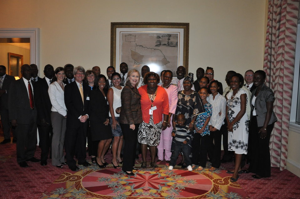 Secretary Clinton Meets With Embassy Jamaica Staff